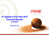 4th Quarter & Full Year 201 Full Year 2017 Financial Results (unaudited)